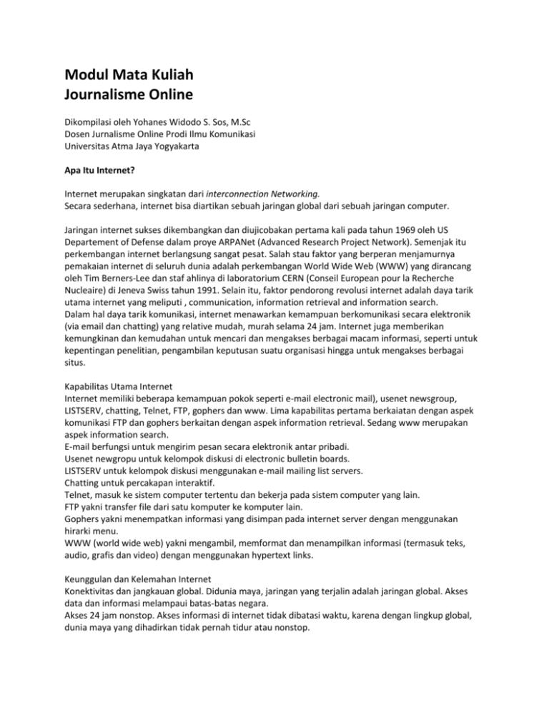 Modul Mata Kuliah Journalisme Online