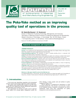 The Poka-Yoke method as an improving quality tool of operations in
