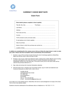 Currency Choice Best Rate Claim Form & Customer Declaration