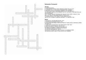 Defamation Crossword Across Down