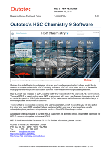 Outotec's HSC Chemistry 9 Software
