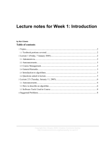 Lecture notes for Week 1: Introduction