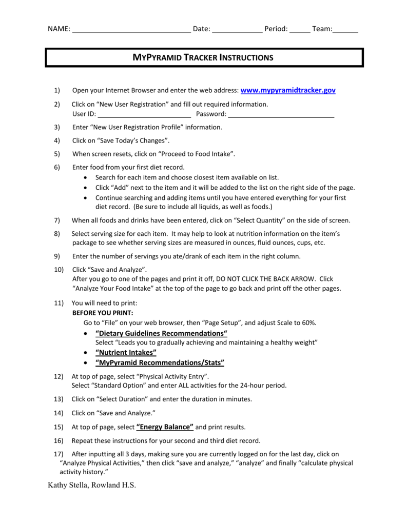mypyramid tracker instructions