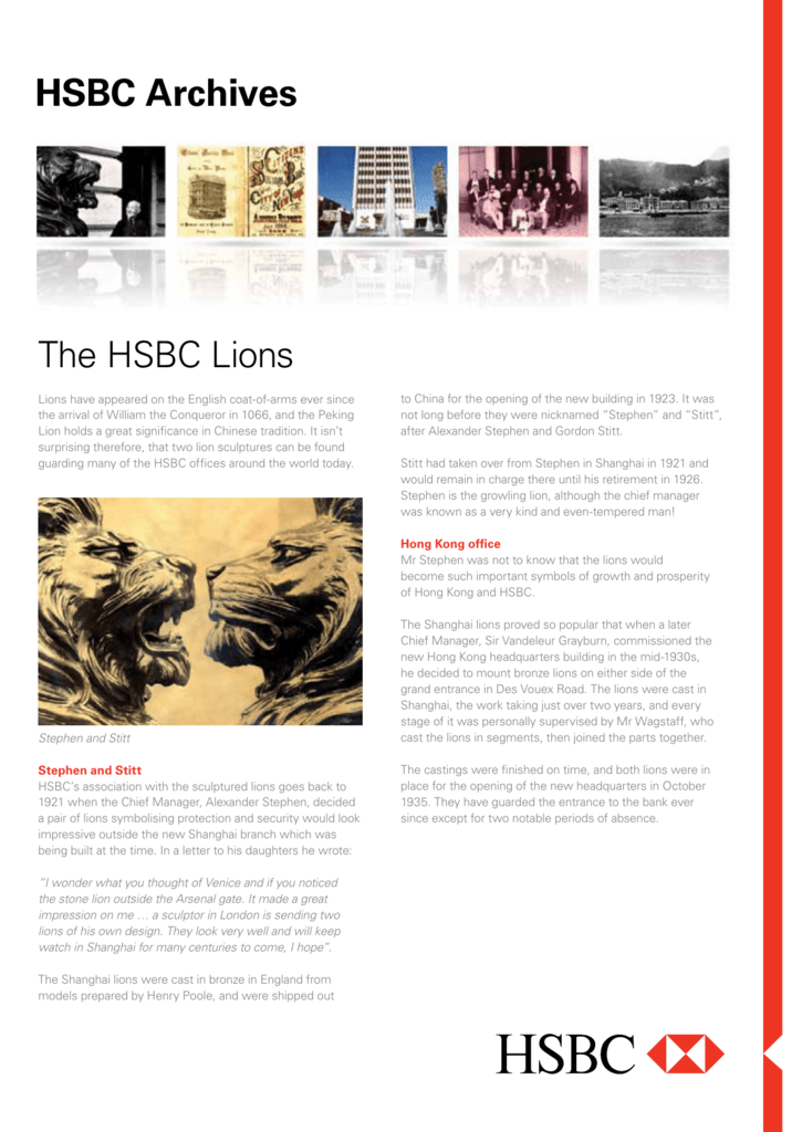 The history of HSBC's two lions, Stephen and Stitt