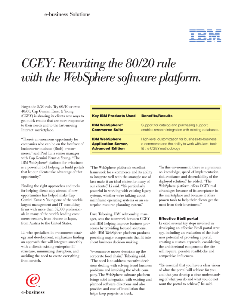 CGEY: Rewriting the 80/20 rule with the WebSphere software