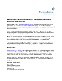 UniversalPegasus International names Terry Mienie Business