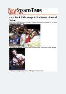 Hard Rock Cafe sways to the beats of world music