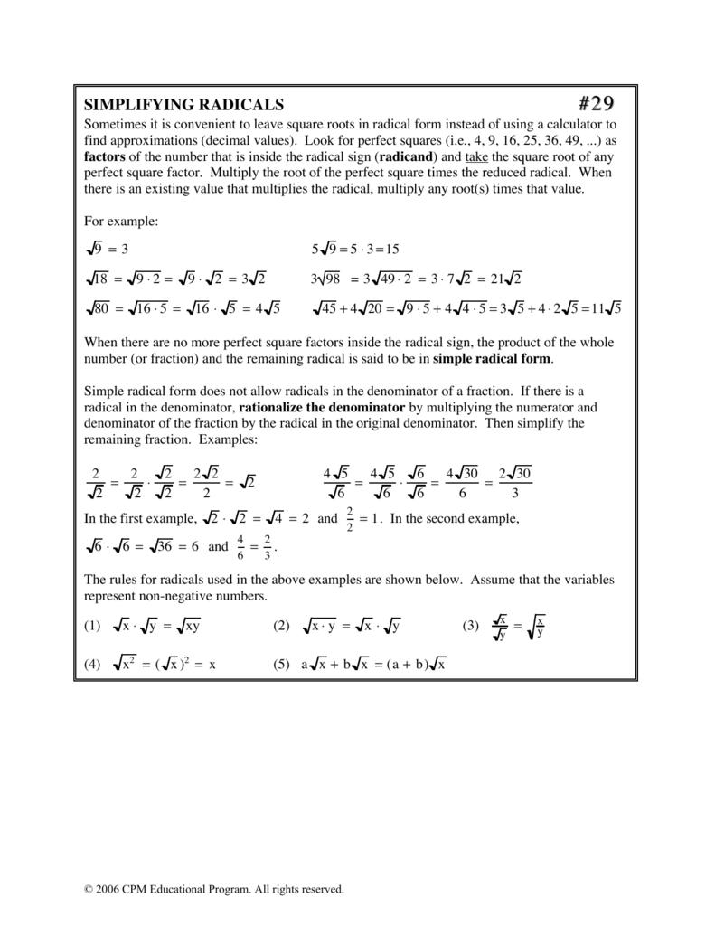 Simplifying Radicals Cpm Educational Program