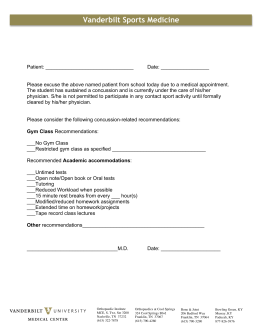 Concussion Excuse Form - Vanderbilt University School of Medicine