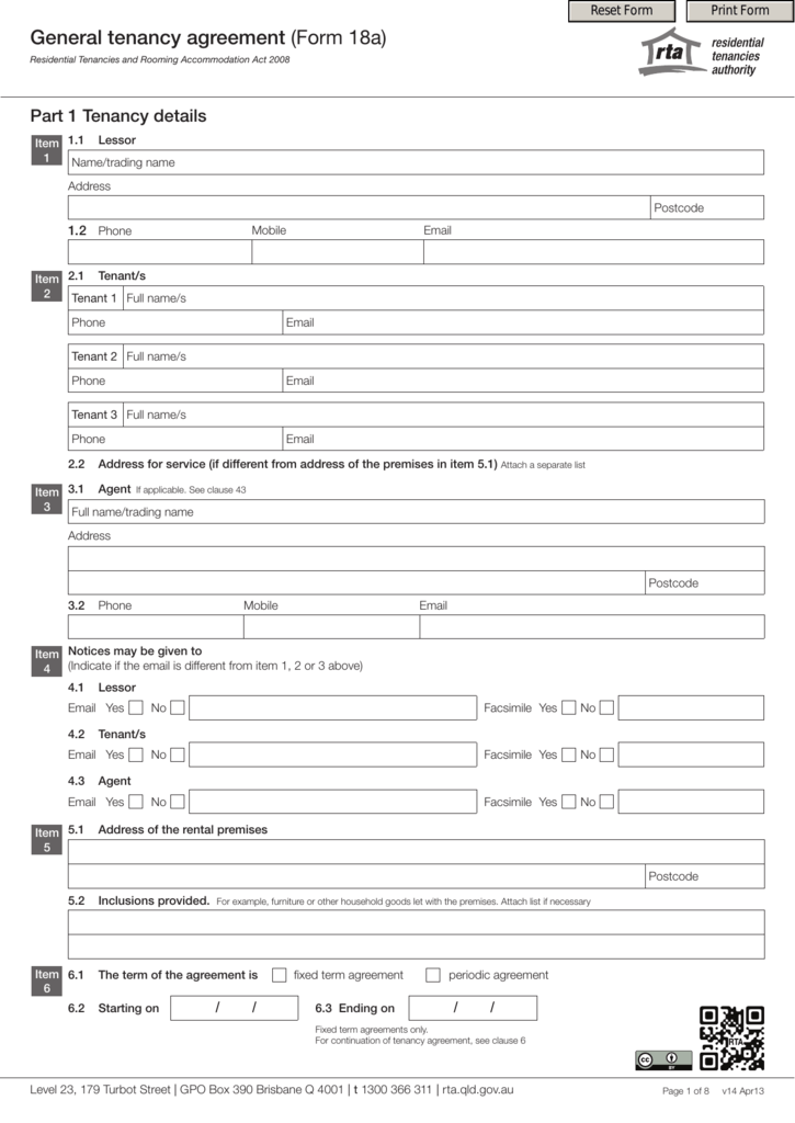 General Tenancy Agreement Form 18a