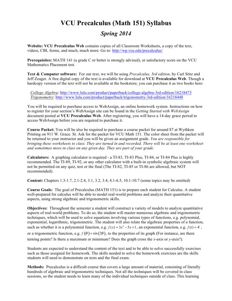VCU Precalculus (Math 151) Syllabus