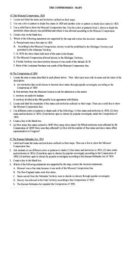 Missouri Compromise Worksheet