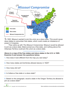 Missouri Compromise Worksheet