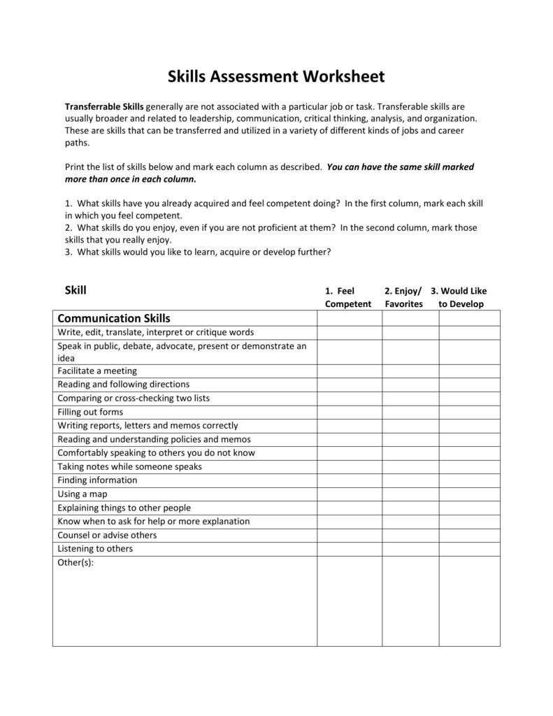 Skills Assessment Worksheet