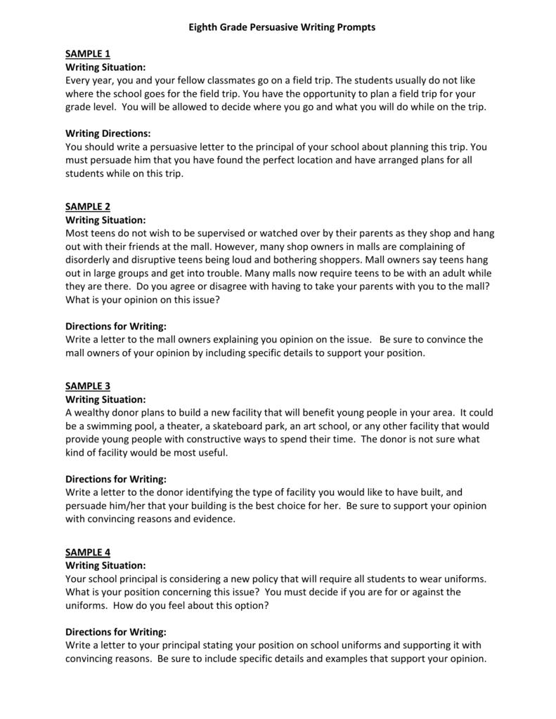 8th grade persuasive essay topics