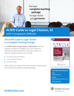 Brochure on the ALWD Guide to Legal Citation.