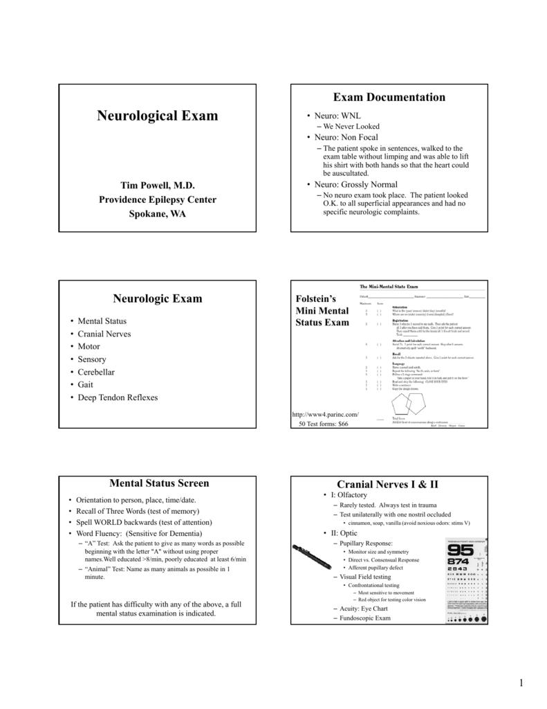Powell Neurologic Exam Pa C Conf 2012 Black White