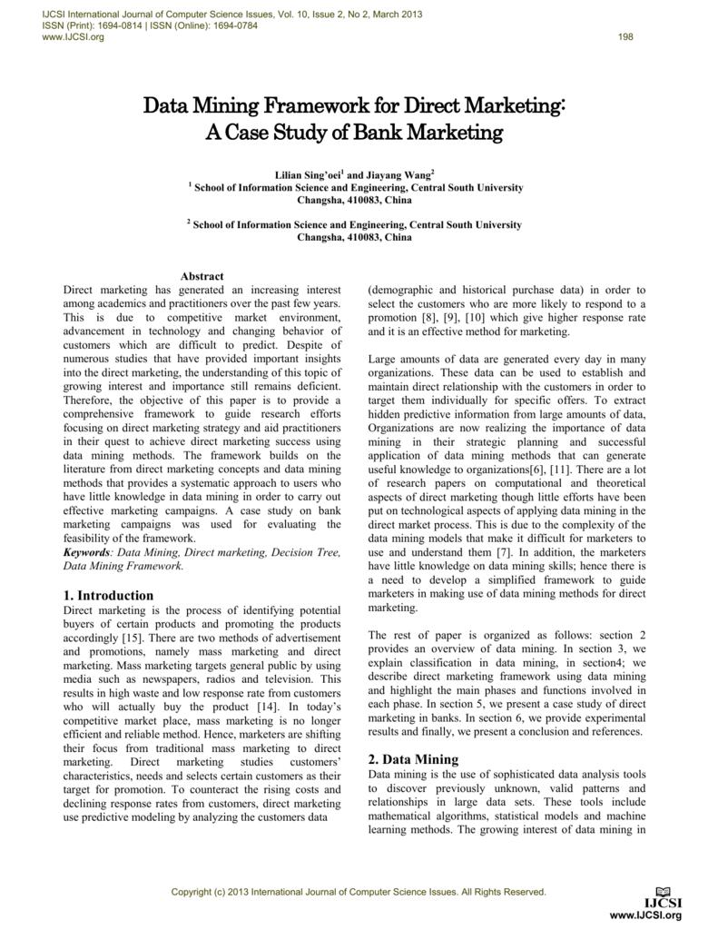 Data Mining Framework for Direct Marketing