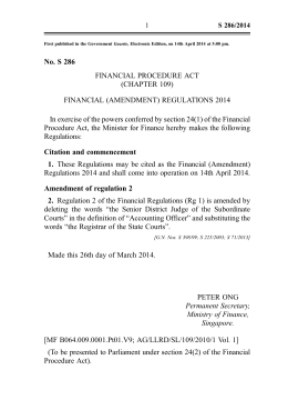 No. S 286 FINANCIAL PROCEDURE ACT (CHAPTER 109