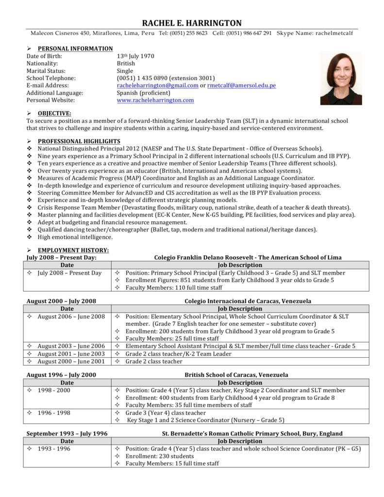Job description of teachers of primary and senior classes