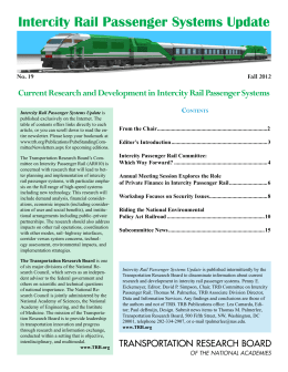 Intercity Rail Passenger Systems Update