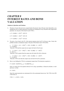 CHAPTER 8 INTEREST RATES AND BOND VALUATION