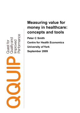 Measuring value for money in healthcare