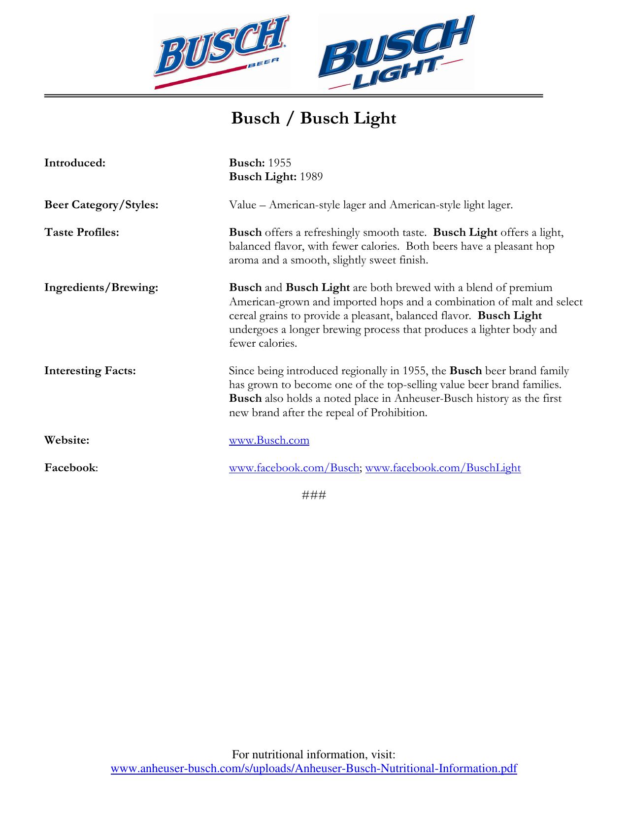 Busch / Busch Light - Anheuser