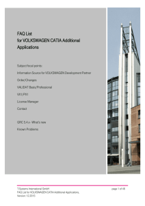 FAQ List for VOLKSWAGEN CATIA Additional - T