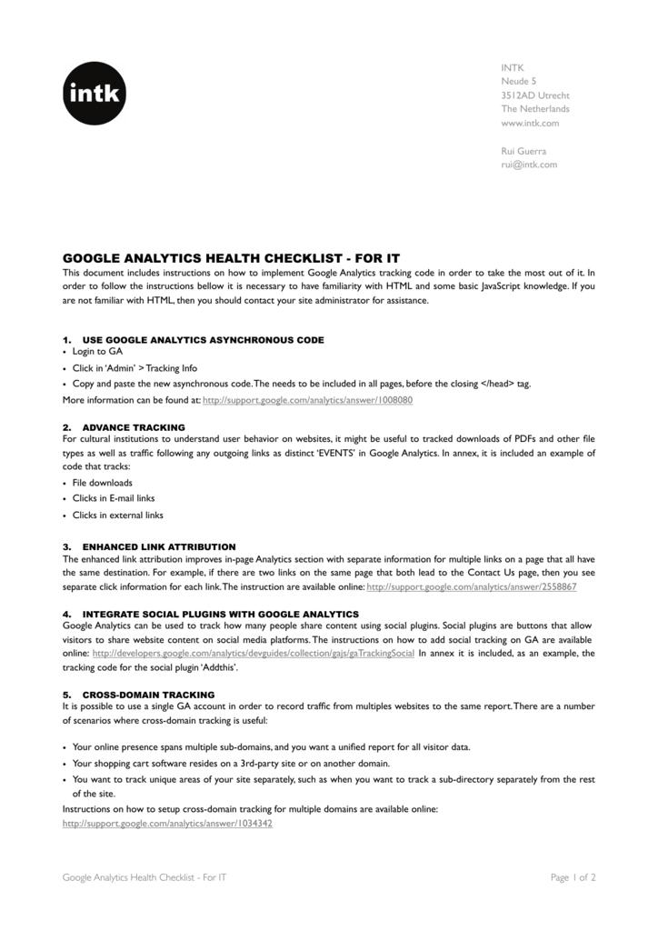 google analytics health checklist