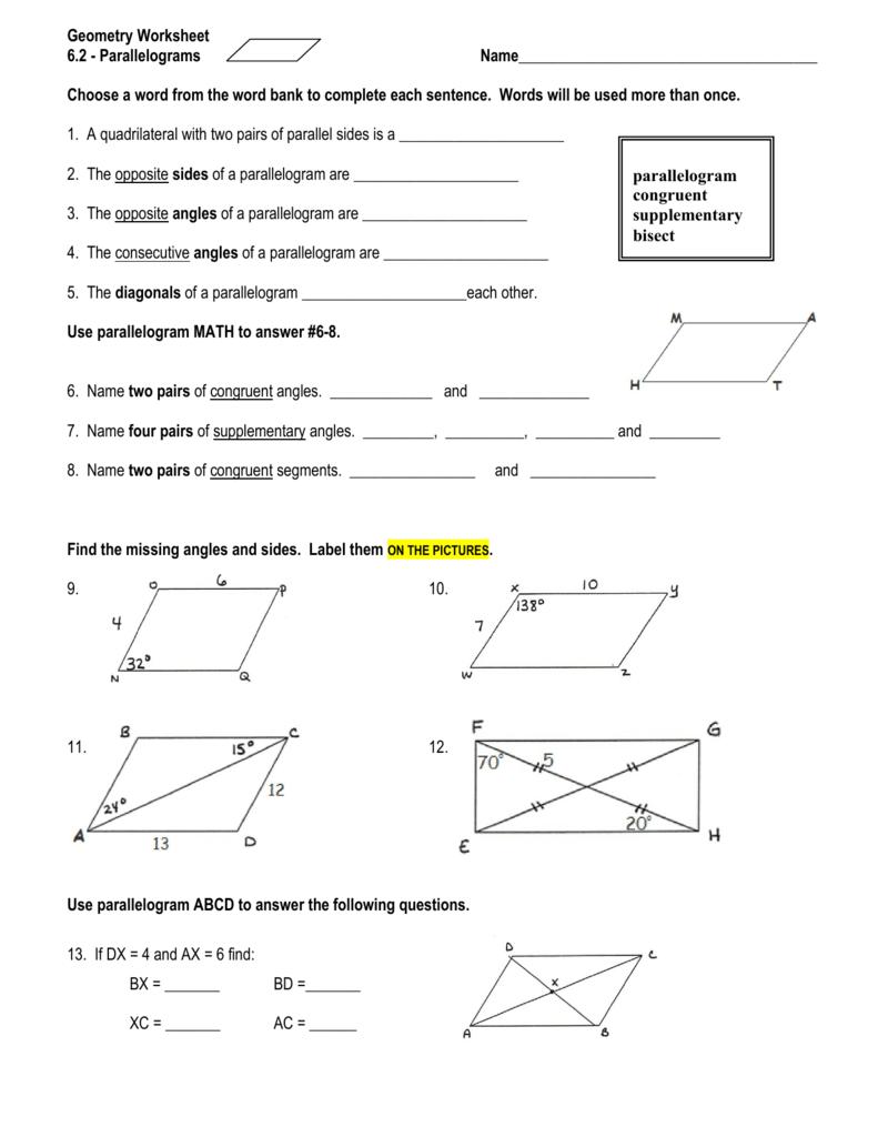 geometry worksheet 6 2 parallelograms answers sewdarncute. Black Bedroom Furniture Sets. Home Design Ideas