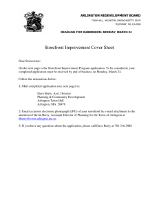 Storefront Improvement Cover Sheet