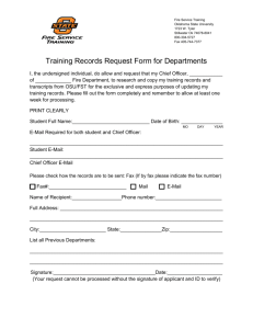 Training Records Request Form for Departments