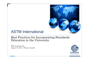 Best Practices for Incorporating Standards Education in the