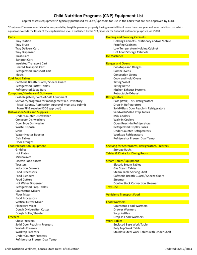 Child Nutrition Programs Cnp Equipment List