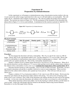preparation of p iodonitrobenzene P-dinitrobenzene has been prepared from p-nitrosonitrobenzene by treatment with nitric acid 1 from p-nitroaniline by the sandmeyer reaction 2 and by the oxidation of p-nitroaniline in concentrated sulfuric acid with ammonium persulfate 3 o-dinitrobenzene has been prepared in similar fashion from o-nitroaniline by the sandmeyer reaction 4 and.