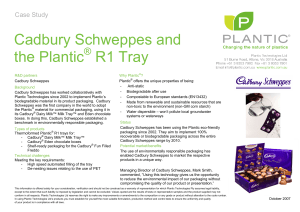 Cadbury Schweppes and the Plantic R1 Tray