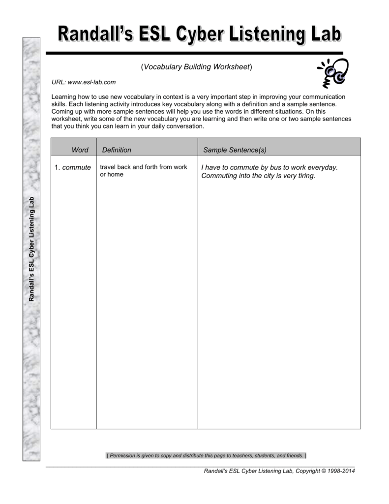 Vocabulary Building Worksheet - Randall's ESL Cyber