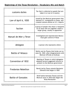 customs duties Law of April 6, 1830 Manuel de Mier y Teran Battle of