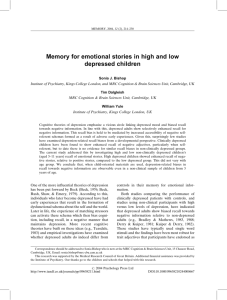 Memory for emotional stories in high and low depressed children