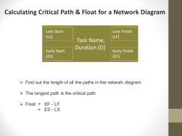 Calculating Critical Path & Float for a Network