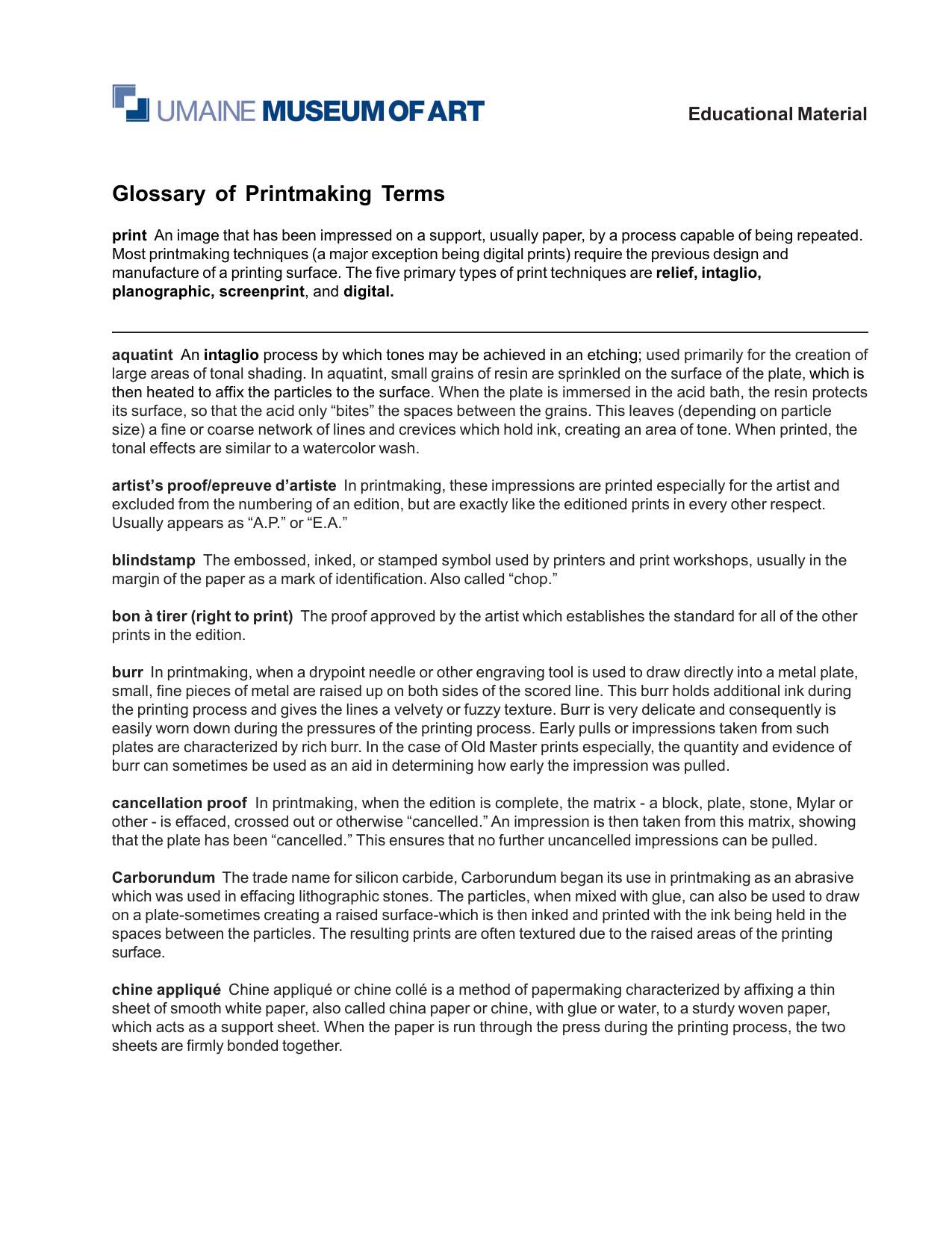 Glossary of Printmaking Terms
