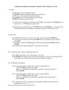 Calculator Instructions for Statistics Using the TI-83, TI-83 plus, or TI-84