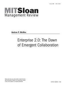 Enterprise 2.0: The Dawn of Emergent Collaboration