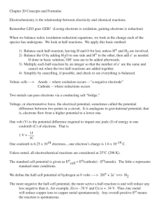 Chapter 20 Concepts and Formulas Electrochemistry is the
