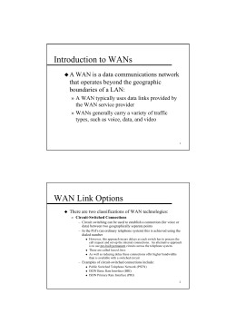 Introduction to WANs WAN Link Options