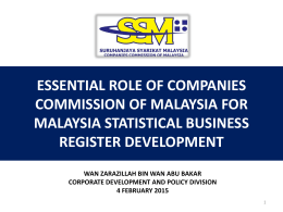 Essential Role of Companies Commission of Malaysia for MSBR