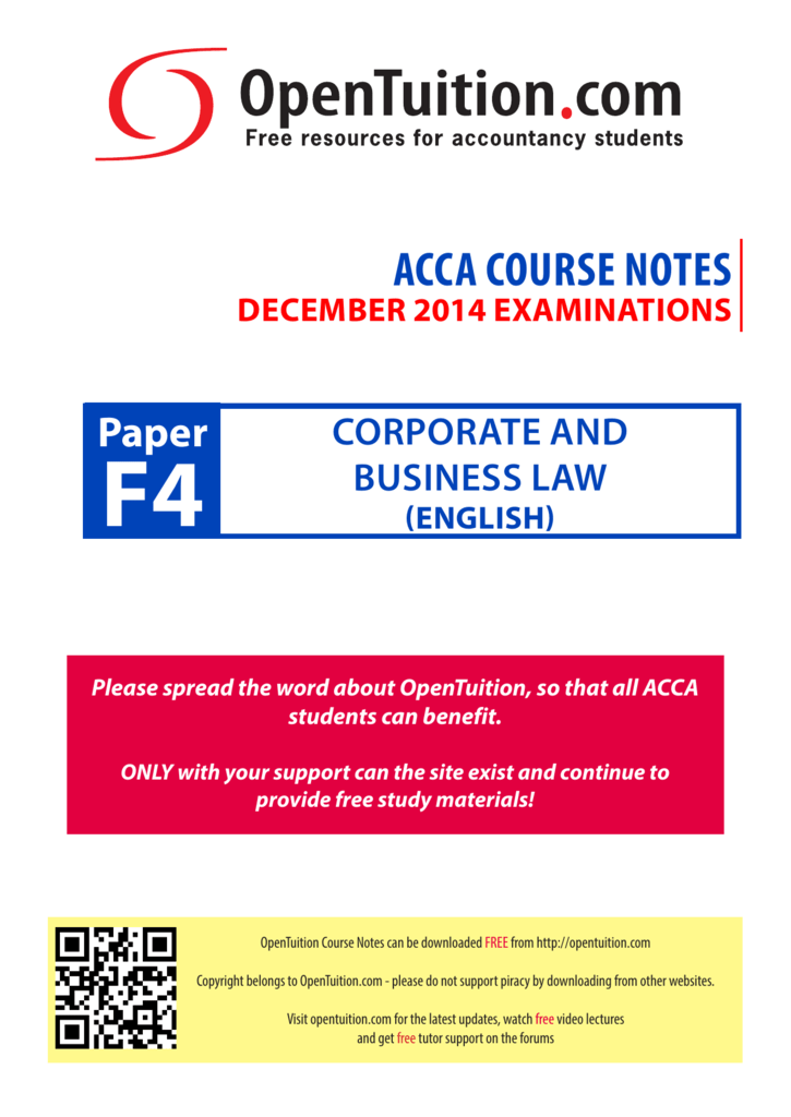 ACCA COURSE NOTES