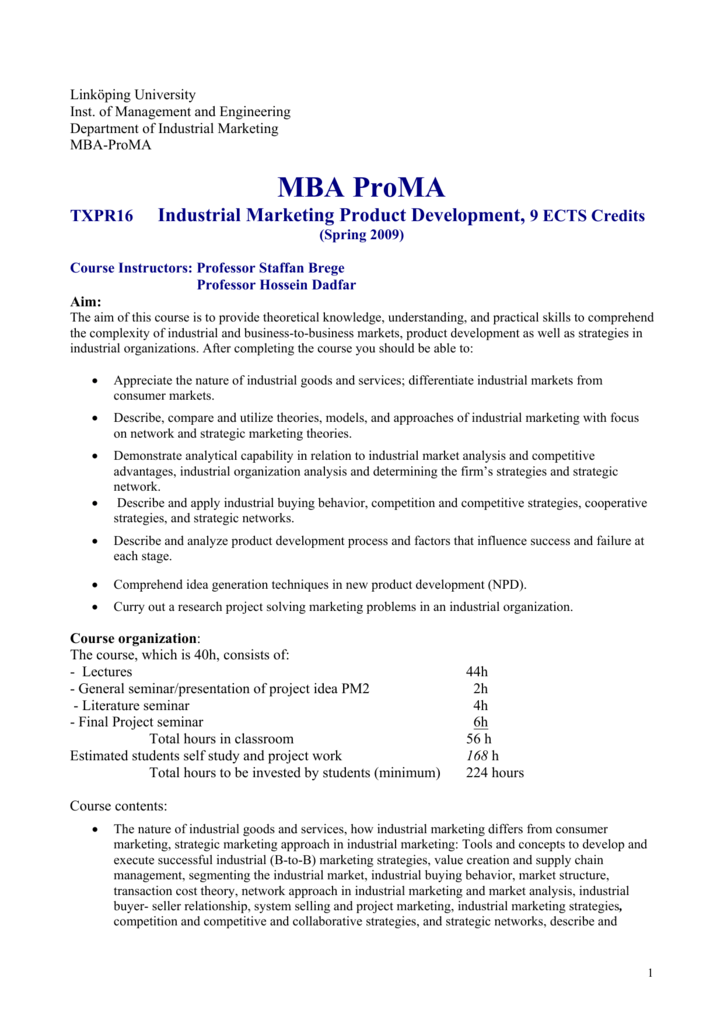 MBA- ProMA Industrial marketing and product development