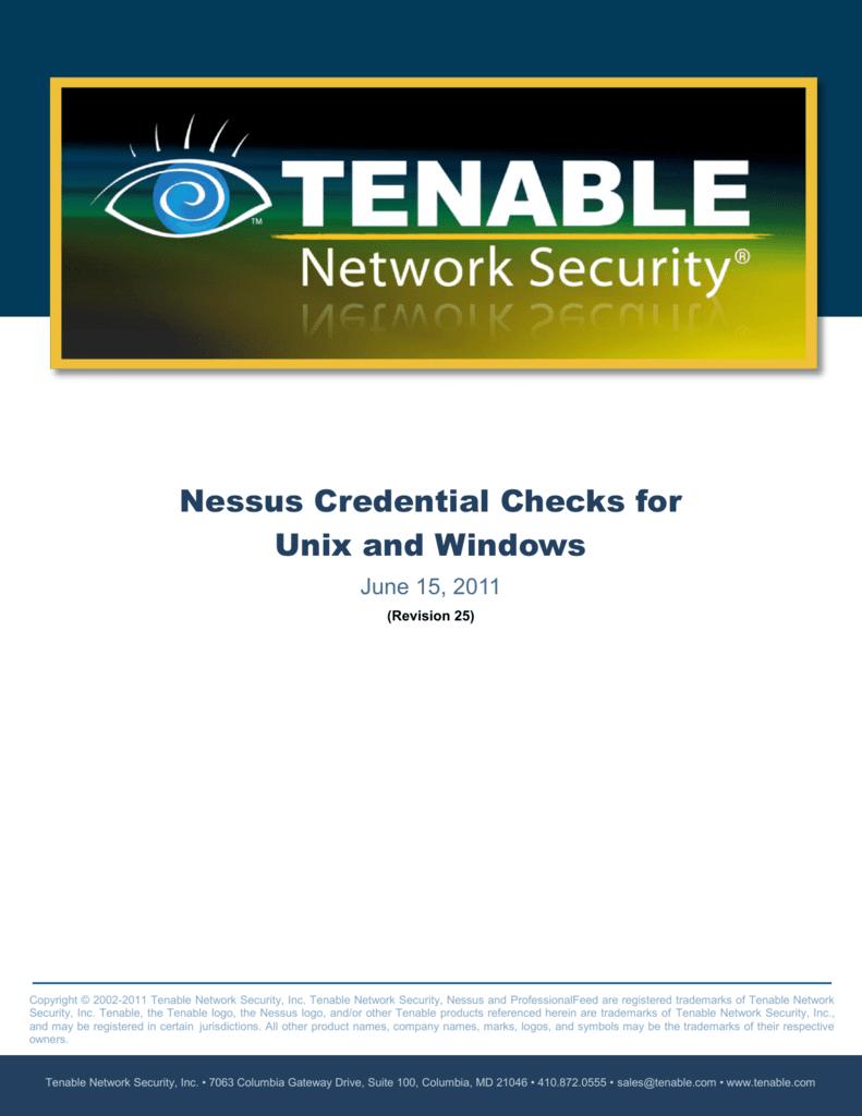Nessus Credential Checks